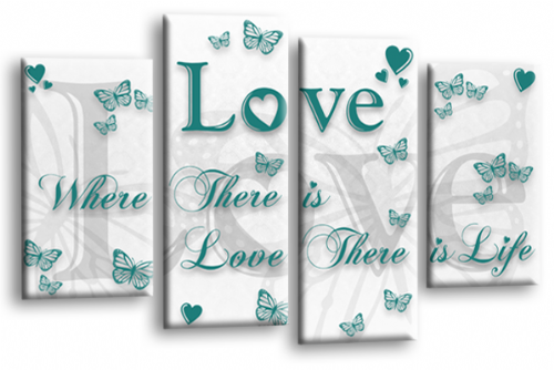 Love Quote Wall Art Print White Teal Family Picture
